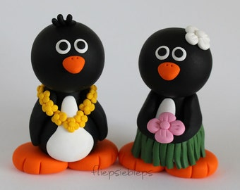 Custom Hawaiian Penguin Wedding Cake Topper