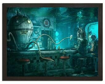 Wall Art, Octopus Diner, Animal Art Print 18x24 Print