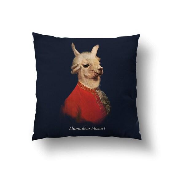 Llamadeus Mozart // Spun Polyester Throw Pillow Case Cover