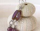 Hypoallergenic Earrings for Sensitive Ears - Titanium Dangle Earrings - Handmade Earrings - Pure Titanium - Purple Beaded Earrings - Jewelry