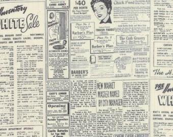 Modern Background Paper - by Zen Chic for  Moda - Black Eggshell - Newsprint - 9.95 For 1 Yard