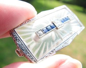 Gorgeous Art Deco Sapphire Diamond Brooch - Carved Rock Crystal Quartz, Old Cut Diamonds, French Cut Sapphires, Platinum, Intricate Detail