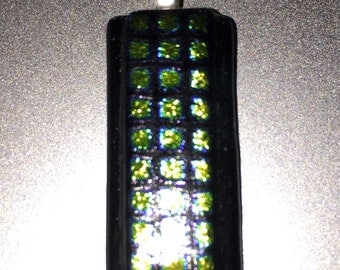 Dichroic Fused Glass Pendant with Green Squares