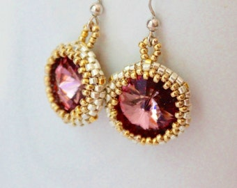 Bezeled Antique Pink Crystal Earrings