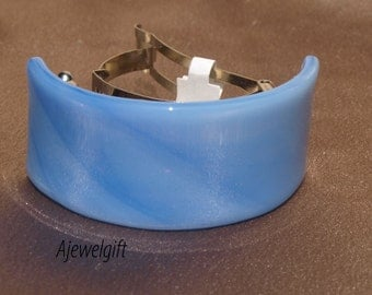 Light Blue Fused Glass Pony Tail Barrette Y946
