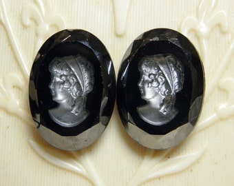 Vintage 24x18mm Blk Glass Cameo Cabochon Finding Supply