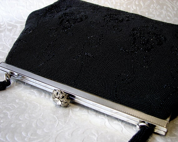 Vintage Handmade French WALBORG Jet Black Micro Beaded Purse Formal Evening Bag Seed Bead Handbag Marcasite & Rhinestone Clasp Silver Tone