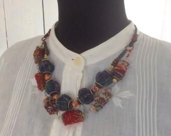 312 - Kantha Fabric Bead Necklace - Urban Gypsy Jewelry