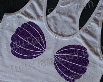 Little Mermaid Shirt, Seashell Shirt, Sea Shell T-shirt, Purple Glitter Ariel Seashell Bra Tank Top, Mermaid Shirt for Teens Juniors Women