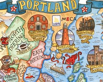 "Portland Maine City Neighborhood Map 16"" x 20"" Art Print"