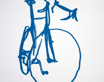 Classic Road Bike - Blue on White - Bicycle Print -  Bike Art