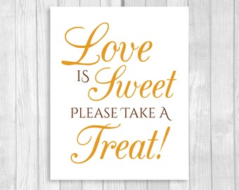 Love is Sweet Take A Treat 8x10 Printable Wedding or Bridal Shower Candy Buffet Sign - Orange and Brown Fall Colors - Instant Download