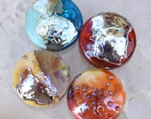 4 Spree Lentils *Earth, Wind & Fire* Blue Ivory Red Orange Gold , glass beads by Beadfairy Lampwork, SRA