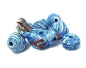 Handmade Lampwork Glass Beads Little Bluebird Set