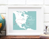 Couples Travel History Map - Personalized Anniversary Art Print, Gift for Him, North America, Wanderlust Couple, US Travels - 8x10 Art Print