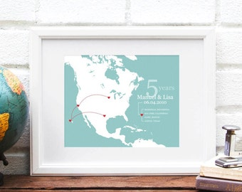 North America Map, Couples Travel Map, Personalized Anniversary Art Print, North America Map Art Gift, US Travels - 8x10 Art Print