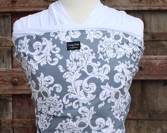 ORGANIC COTTON Baby Wrap Sling Carrier -White Floral On White-Newborn to Toddler Carrie-DvD Included