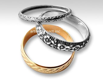 Stacking bands set, Gold silver Rings, floral rings, two tone ring, Stack Rings Set of 3 Sterling and gold filled - Night And Day R2227T