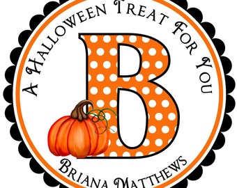 Personalized Halloween Stickers, Pumpkin, witch hat, candy corn, lollipop,Halloween Candy labels, set of 12
