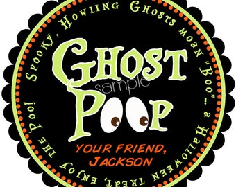 Ghost Poop Halloween Stickers, Halloween Stickers, favor bag stickers,Halloween labels, Treat  Stickers, party favor labels, set of 12