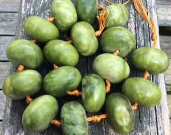 "Rare Gorgeous Green Jade Rondelles 18x30mm ~ 18"" strand"