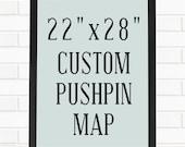 """Push Pin Map, Personalized 22""""x28"""" Pushpin Map Art"""