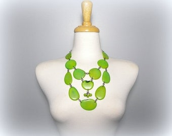 Granny Smith Apple Acai Seed and Tagua Nut Bib Statement Eco Friendly Necklace with Free USA Shipping #taguanut #ecofriendlyjewelry