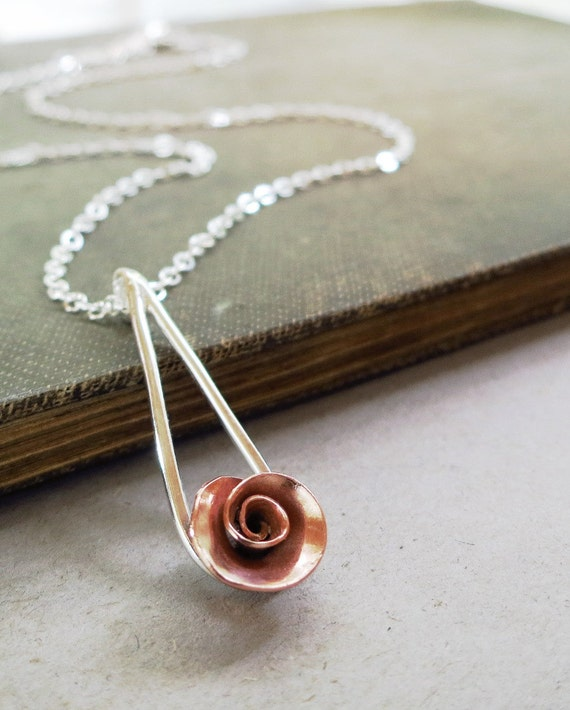 Rose necklace, Sterling Silver, copper, raindrop, flower pendant, Nature inspired jewelry