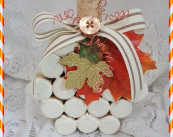 Wine Cork White Pumpkin, Hand Created and Accented with Trims, Harvest, Fall, Autumn Decorating, Gift, Collectible, ECS