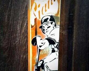 San Francisco Giants Will Clark Graffiti Painting on Canvas Pop Art Style Original Artwork Stencil Urban Street Art Artwork World Series MVP