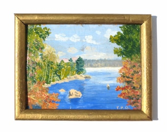 Antique Dollhouse Original Miniature Oil Painting Circa 1919 Eagle Lake Maine Signed