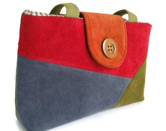 SALE - Color Block - Corduroy  Patchwork Purse - One of a Kind  - Bag - Cherry Red - Olive Green - Burnt Orange - Slate Blue