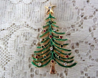 Vintage Goldtone Christmas Tree Pin with Colored Stones Mint Condition