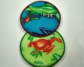 Colored Frogs Cloth Coaster Set of 2    Set #29