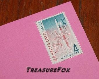 Twenty 4c U.S. JAPAN Friendship Stamp issued 1961.. Pack of 20 Vintage Unused US Postage stamps. Cherry blossoms in Washington DC, Pinks