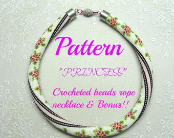 Princess crocheted  beads rope necklace pattern tutorial and bonus  for personal use only