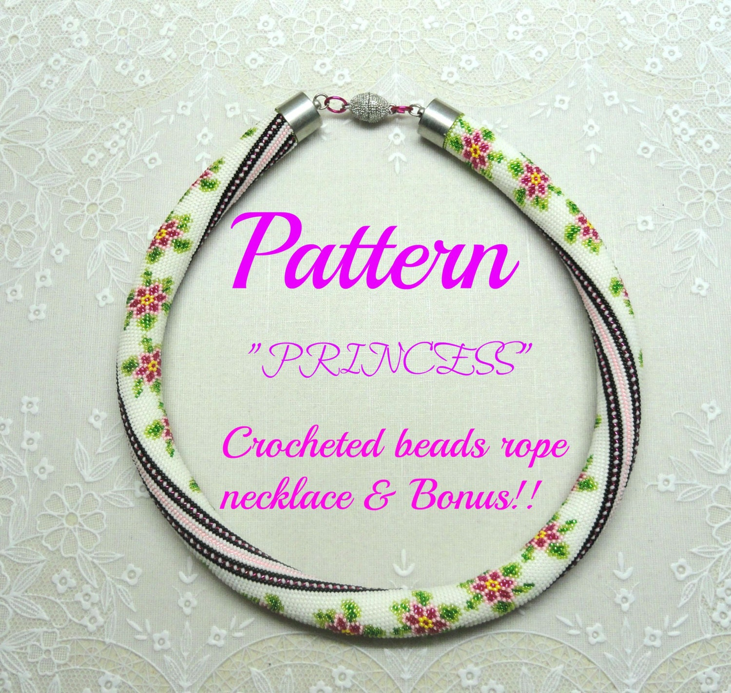 Princess Beads: Princess Crocheted Beads Rope Necklace Pattern Tutorial And