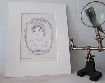 Author Portrait - Art Print - Author Quote - Jane Austen - Vintage Paper - Wall Art - Quotations -  Sense and Sensibility