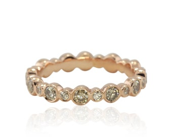 Eternity Band, Bezel Set Champagne Diamond Eternity Band in 14k Rose Gold - LS2169