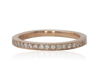 Rose Gold Diamond Mother's Ring, 14kt Rose Gold Diamond Ring - April Birthstone - LS2884