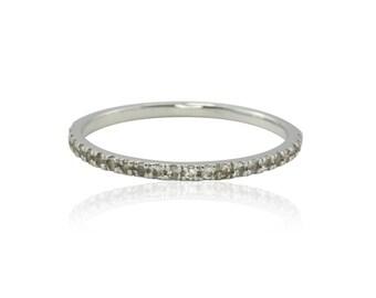 Sapphire Ring, 14kt White Gold White Sapphire Wedding Band - Diamond Alternative Ring - LS3380