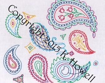 Paisley Hand Embroidery Pattern, PDF, Plethora of Paisleys
