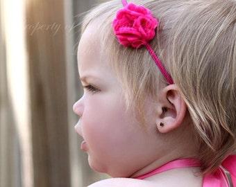Dark Pink Felt Flower Headband ~ Infant Headband - Newborn Headband - Toddler Headband ~ Baby Girl Headband
