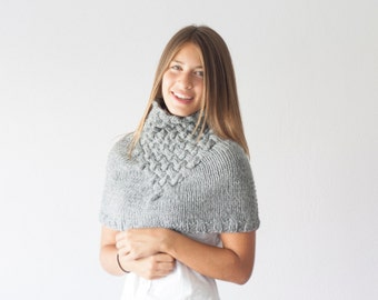 Knit capelet grey with basket pattern,neck warmer,shoulder warmer,knit collar,neckwarmer