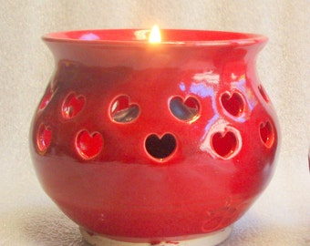 Red Votive Candle Holder or Luminary with Heart Cut-outs - Wheel Thrown Pottery