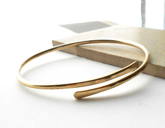 Hammered Gold Brass Bangle Bracelet, Thick Heavy Gauge Wire Bracelet