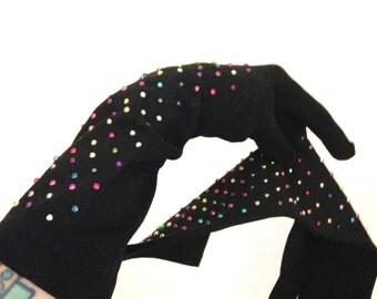 Studded Gloves Black Long  VIntages 50s Pin up