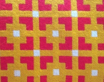 Mod Blanket Throw Wool Yellow Orange for Mid Century House