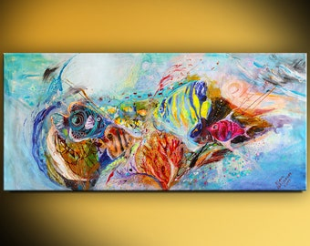 """61"""" Abstract Red Sea Life vivid painting on canvas purple red yellow color light blue background thick paint huge wall painting Israeli art"""