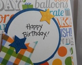 Greeting Card Happy Birthday Handmade Plaid Dots Wishes